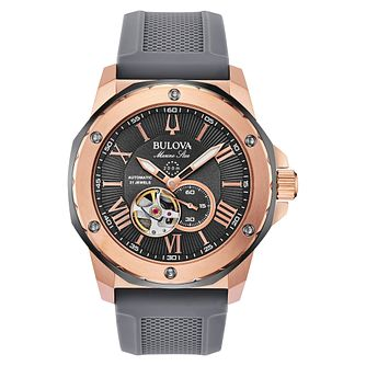 Bulova Marine Star Men's Grey Silicone Strap Watch - Product number 1382438