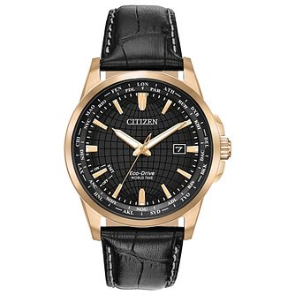 Citizen Worldtime Men's Black Leather Strap Watch - Product number 1383299