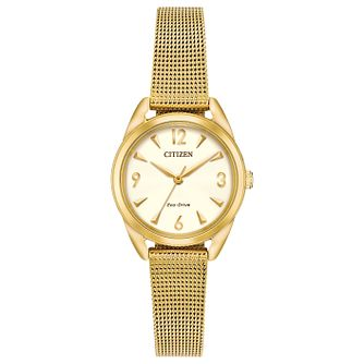 Citizen Eco-Drive Mini Ladies' Gold Tone Mesh Bracelet Watch - Product number 1383795