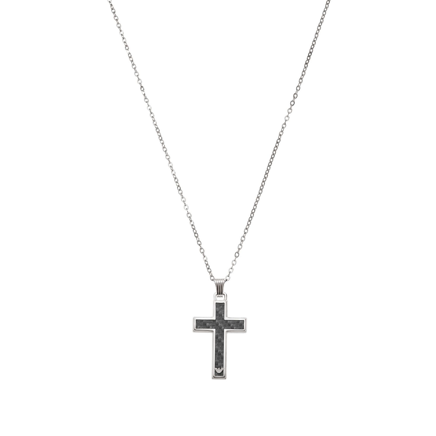 Emporio Armani Men's Steel & Carbon Fibre Cross Necklace - Product number 1388150