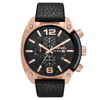 Diesel Overflow Men's Black Dial & Leather Strap Watch - Product number 1388312
