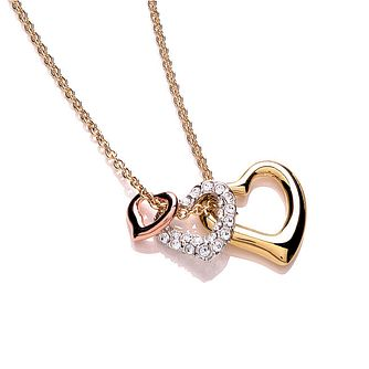 Buckley London Three Colour Crystal Set Triple Heart Pendant - Product number 1396129