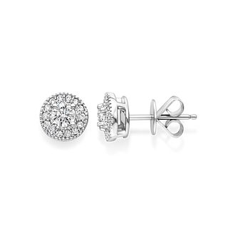 Tolkowsky 18ct white gold 0.50ct I-I1 diamond halo earrings - Product number 1397486