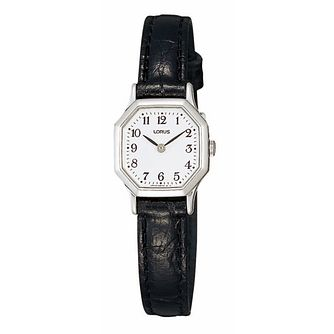 Lorus Ladies' Hexagon Black Leather Strap Watch - Product number 1409336