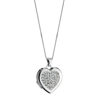 9ct White Gold Crystal Heart Locket - Product number 1411152