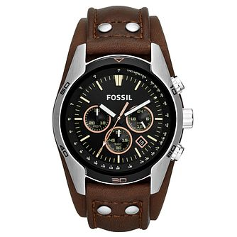 Fossil Men's Brown Leather Strap Watch - Product number 1411683