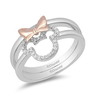 Mickey Mouse & Minnie Mouse Diamond Bow Stacker Rings - Product number 1414259