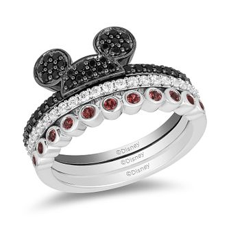 Mickey Mouse & Minnie Mouse Black Diamond & Garnet Rings Set - Product number 1415034