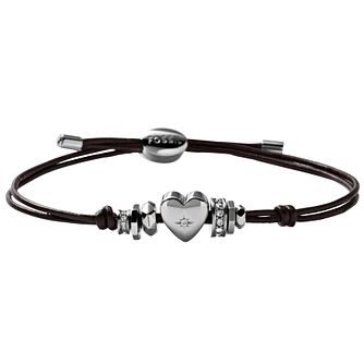 Fossil Cubic Zirconia Set Heart Brown Leather Bracelet - Product number 1426729