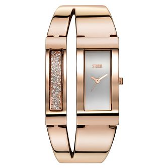 Storm Ladies' Rose Gold-Plated Stone Set Bangle Watch - Product number 1427369