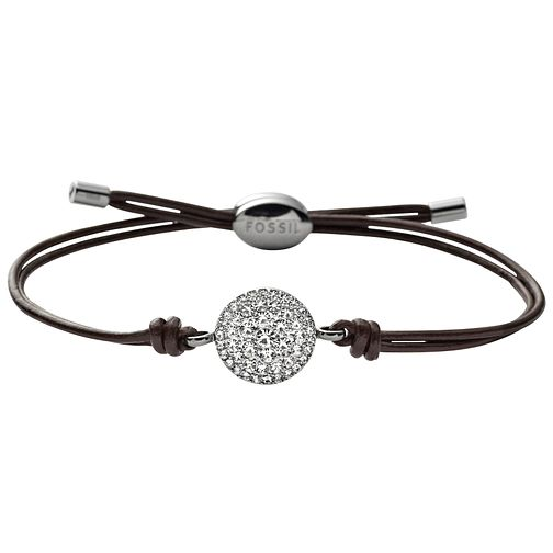 Fossil Stainless Steel Crystal Set Leather Bracelet - Product number 1429981