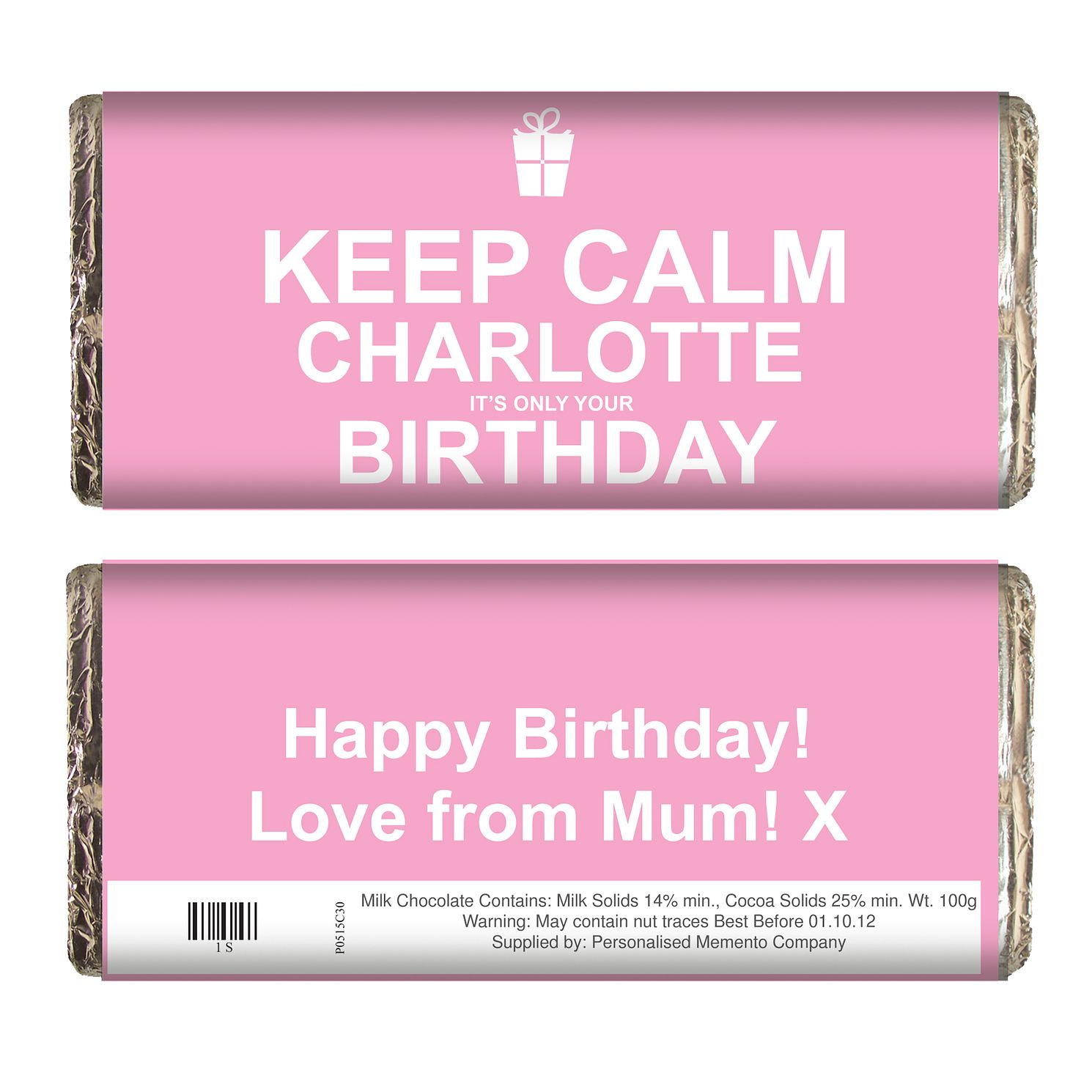 Personalised Pink Keep Calm Chocolate Bar - Product number 1434365