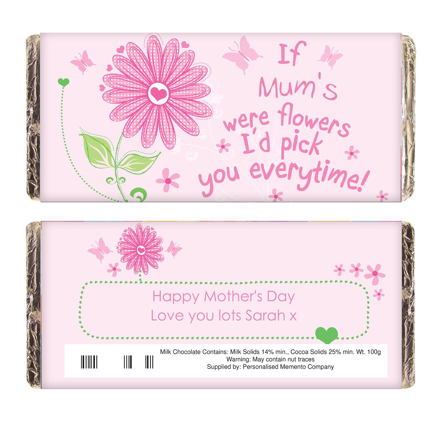 Personalised Floral I'd Pick You  Chocolate Bar - Product number 1434381