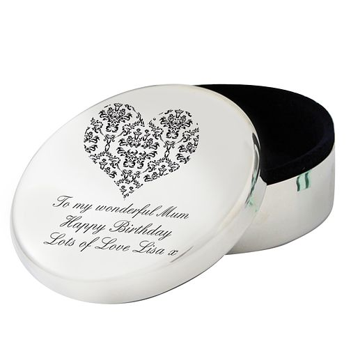 Personalised Black Damask Heart Round Trinket Box - Product number 1438425