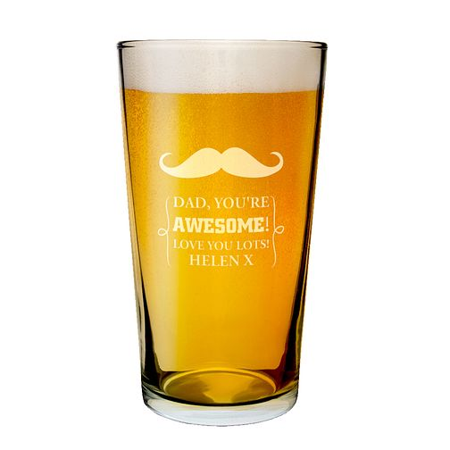 Personalised Engraved Moustache Pint Glass - Product number 1439200