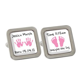 Personalised Pink Hand And Foot Print Cufflinks - Product number 1440527
