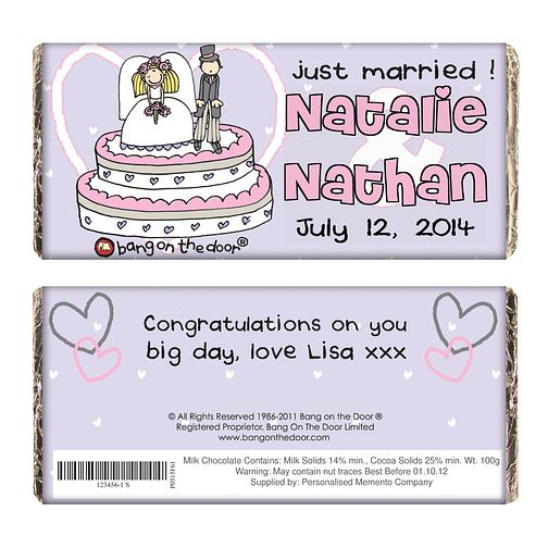 Personalised Bang On The Door Just Married Chocolate Bar - Product number 1441159