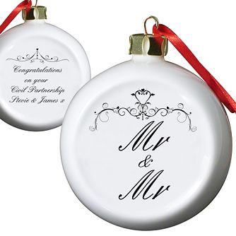Personalised Ornate Swirl Couple Tree Bauble - Product number 1441329