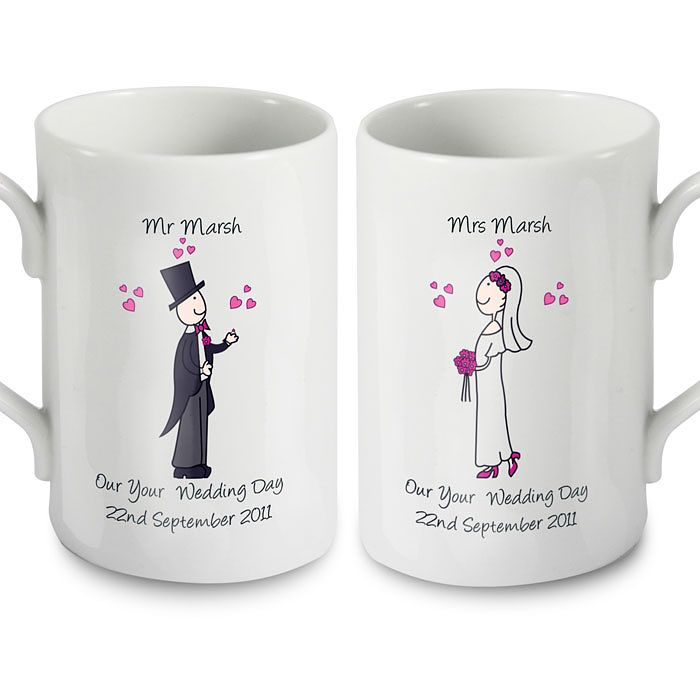 Personalised Cartoon Couple Bride And Groom Mug Set - Product number 1442023