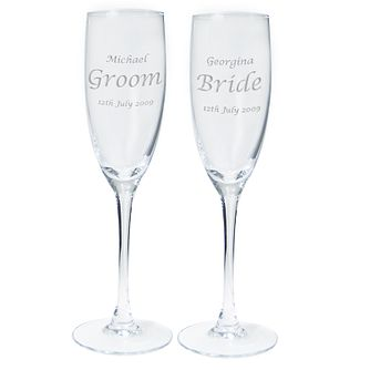 Personalised Engraved Wedding Celebration Pair of Flutes - Product number 1443690