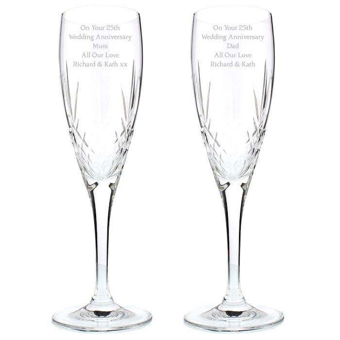Engraved Crystal Pair Of Champagne Flutes - Product number 1443844