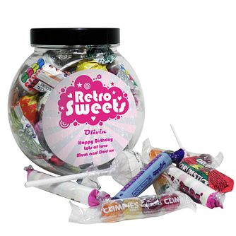 Personalised Retro Pink Sweet Jar - Product number 1444131