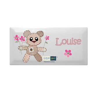 Personalised Cotton Zoo Tweed The Bear Pink Door Plaque - Product number 1444859