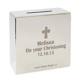 Engraved Cross Motif Square Money Box - Product number 1445642