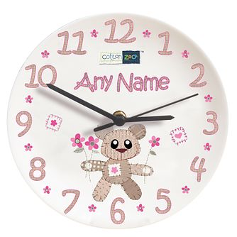 Personalised Cotton Zoo Tweed The Bear Pink Clock - Product number 1446010