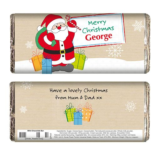 Personalised Santa Merry Christmas Chocolate Bar - Product number 1446207