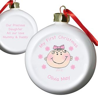 Personalised Baby Girl My First Christmas Bauble Ornament - Product number 1446479