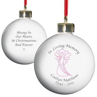 Personalised In Loving Memory Pink Angel Bauble - Product number 1446517