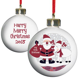 Personalised Rooftop Santa First Christmas Bauble - Product number 1446541