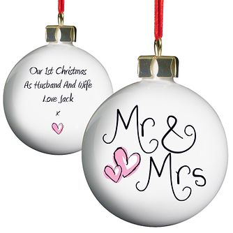 Personalised Mr And Mrs China Bauble Ornament - Product number 1446762