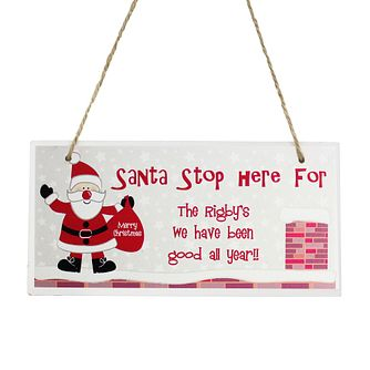 Personalised Rooftop Santa- Stop Here Wooden Christmas Sign - Product number 1447203