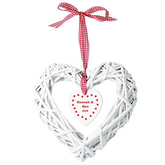 Personalised Wicker Heart With Hanging Heart - Product number 1447327