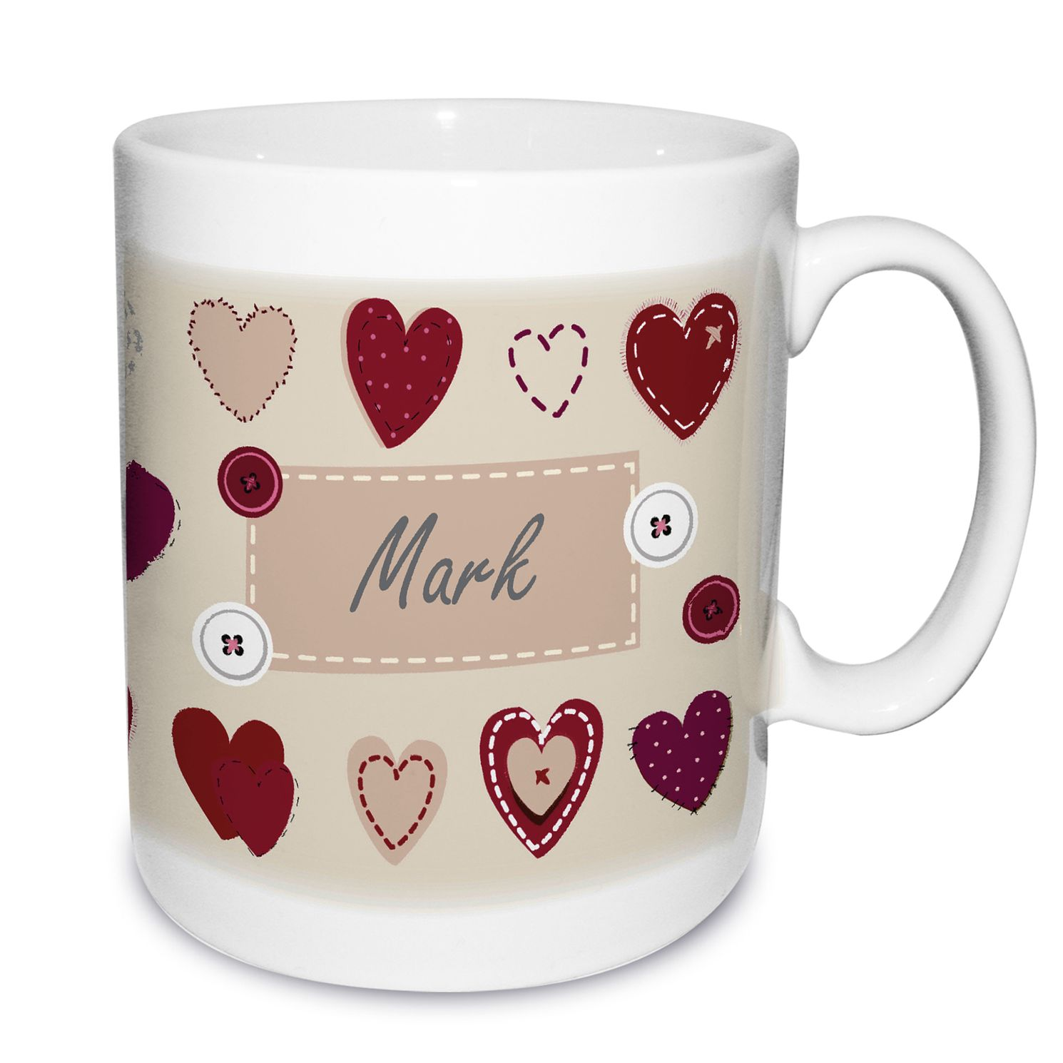 Personalised Fabric Hearts Mug - Product number 1448358