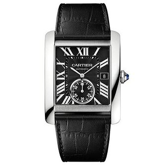 Cartier Tank MC men's black leather strap watch - Product number 1459562