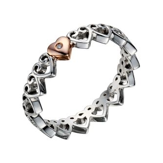 Clogau Silver & Rose Gold Affinity Stacker Ring - Product number 1468677