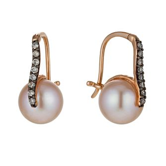 Le Vian 14ct Strawberry Gold Pearl 16 Point Diamond Earrings - Product number 1470159