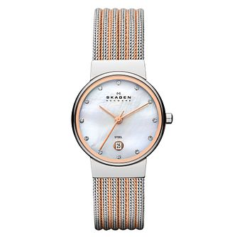Skagen Ancher Ladies' Two Colour Mesh Bracelet Watch - Product number 1476874