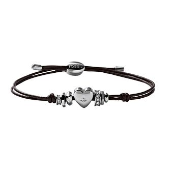 Fossil Stainless Steel Stone Set Heart Leather Cord Bracelet - Product number 1478729