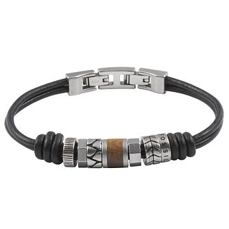 Fossil men's stainless steel bead black leather bracelet - Product number 1479008