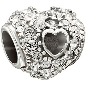 Chamilia sterling silver pave set crystal open heart bead - Product number 1479636