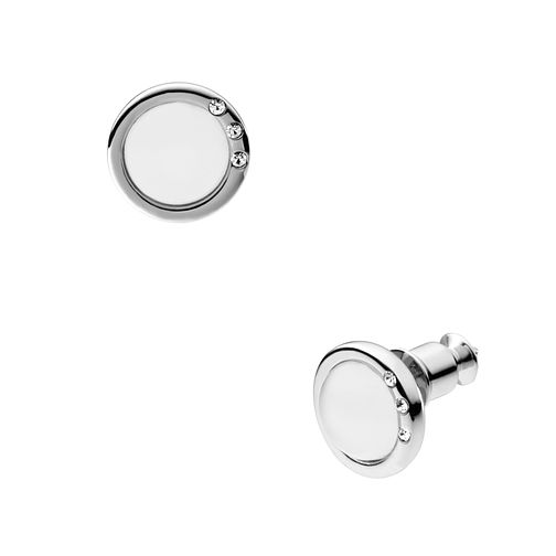 Skagen Stainless Steel & White Glass Stone Set Stud Earrings - Product number 1481169