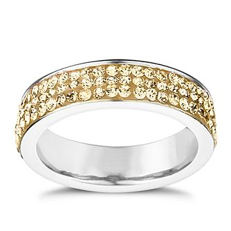 Shimla Clear Crystal Gold Tone Stainless Steel Ring Size N - Product number 1484451