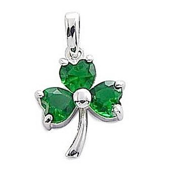 Cailin Sterling Silver Green Cubic Zirconia Shamrock Pendant - Product number 1490311