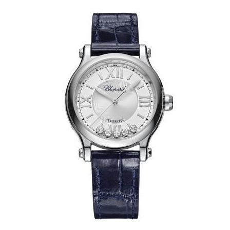 Chopard Happy Sport Ladies' Black Leather Strap Watch - Product number 1518410