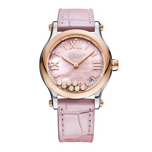 Chopard Happy Sport Ladies' Pink Leather Strap Watch - Product number 1518437