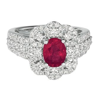 Le Vian Couture Platinum 1.18ct Diamonds & Ruby Ring - Product number 1518852